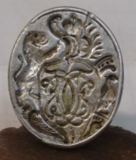silbernes Spät-Barock-Petschaft mit Initialen