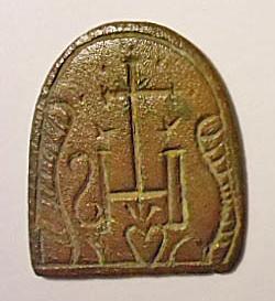 Siegelplatte mit kirchlichem Motiv, etwa um 1800, IHS