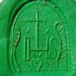 Siegelplatte mit kirchlichem Motiv, etwa um 1800, Abdruck