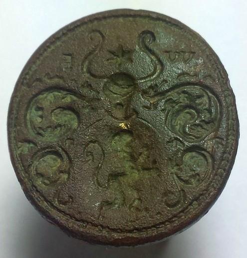 neuzeitliches Petschaft um 1800, steigender Löwe im Wappen