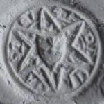 Abdruck, mittelalterliches Petschaft mit Wappen im Stern