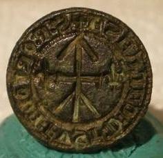 mittelalterliches Petschaft mit Hausmarke, 2 Lilien, ca. 15.Jh.