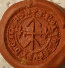 mittelalterliches Petschaft mit Hausmarke, 2 Lilien, ca. 15.Jh., Abdruck