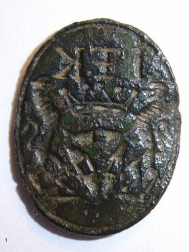 neuzeitliches Petschaft eines Webers mit abgebrochener, vermutlich barocker Handhabe des 18.Jh.
