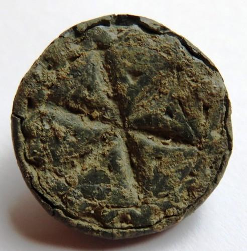 mittelalterlicher Siegelstempel mit einem Zeichen, welches eine Hausmarke oder sonstiges Zeichen darstellt, ohne Umschrift, vielleicht ein Zweitsiegel