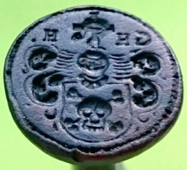 neuzeitliches Petschaft mit Wappen und Initialen, vermutlich Adelshaus, um 1800