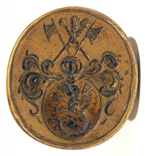 Petschaft mit Lindwurm / Drachen im Wappen, 18./19.Jh., gespiegelt