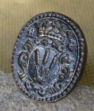 Petschaft um 1800, Initialen und 3 Getreideähren im gekrönten Wappen