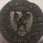 Petschaft mit Dreipass-Handhabe u. Eichhörnchen im Wappen