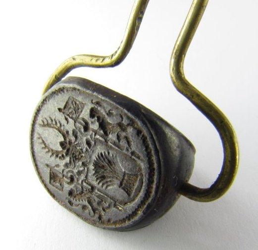 3-Seiten-Siegel um 1750, Handhabe möglicherweise ersetzt