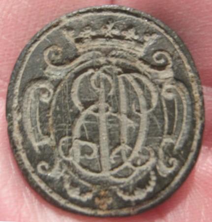 neuzeitl. Petschaft mit gekrönten Schnörkelbuchstaben, um 1750
