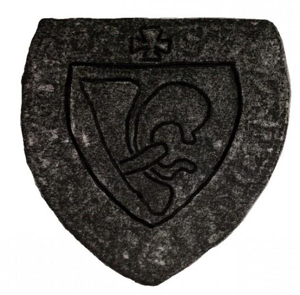 bearbeiteter und gespiegelter Scan eines Rittersiegels mit halber Lilie, 13./14.Jh., Original verschollen