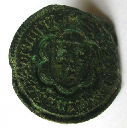 mittelalterliches Siegel, 3 Löwenköpfe? im Wappen, wohl 14./15.Jh.