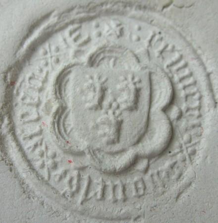 mittelalterliches Siegel, 3 Löwenköpfe? im Wappen, wohl 14./15.Jh., Abdruck