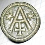 Petschaft mit Hausmarke und 2 Sternen, ohne Umschrift, mittelalterlich