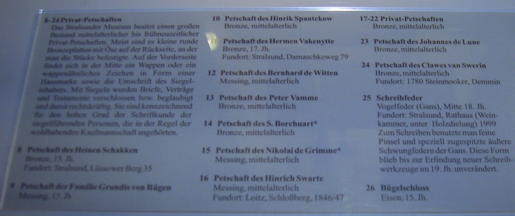Stralsund Kulturhistorisches Museum: Beschreibung der 16 Typare (Nr. 24 fehlt)