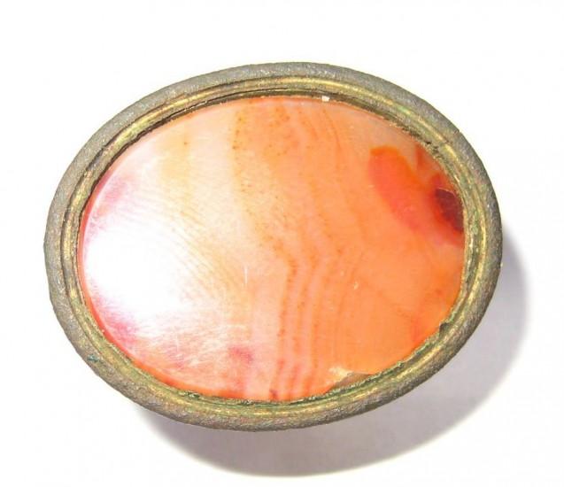 neuzeitliches Petschaft um 1850 mit einem ovalem Karneol als Siegelflächen-Rohling