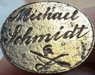 Petschaft des Soldaten Michael Schmidt, um 1860, gespiegelt