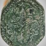 schlecht erhaltenes Petschaft mit Wappen, Helm und Helmzier, vermutl. 17. Jh