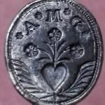 silbernes Petschaft, Handhabe in Form eines Fisches, 18. Jh, gespiegelt